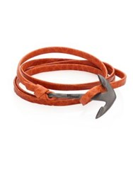 Miansai Rhodium Plated Anchor Leather Wrap Bracelet Tan