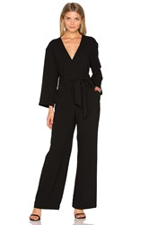 Enza Costa Long Sleeve Wrap Jumpsuit Black
