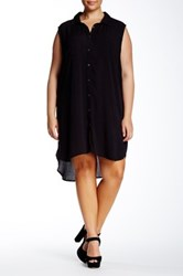 Bobeau Woven Button Down Tunic Plus Size Black