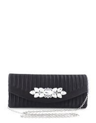 Sasha Broach Accented Satin Crossbody Clutch Black