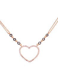 Lord And Taylor Cubic Zirconia Sterling Silver Open Heart Necklace Rose Gold