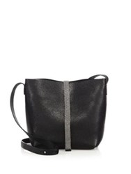 Brunello Cucinelli Monili Trim Leather Tote Black