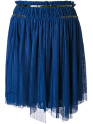 Jay Ahr Silver Tone Detail Pleated Skirt Blue