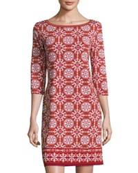 Max Studio Geometric Print Jersey Shift Dress Garnet Rus