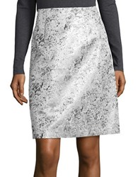 Ellen Tracy Metallic Jacquard Skirt Silver