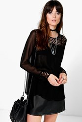 Boohoo Pleated Crochet Trim Blouse Black