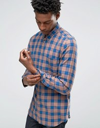 Paul Smith Shirt In Check Tailored Slim Fit Orange Blue Orange