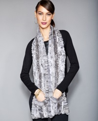 The Fur Vault Knitted Chinchilla Fur Scarf Natural