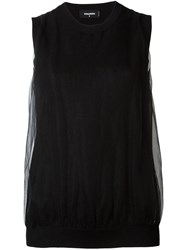 Dsquared2 Draped Knitted Sleeveless Top Black