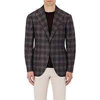 Sciamat Men's Plaid Flannel Two Button Sportcoat Dark Grey