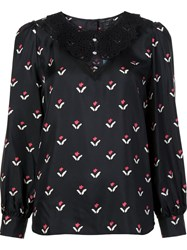 Marc Jacobs Floral Print Blouse Black