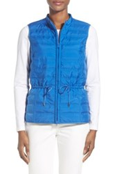 Lafayette 148 New York 'Kyra' Channel Quilted Drawstring Vest Blue