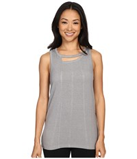 Zobha Tank Top W Back Trim Detail And Double Neckline Heather Grey Women's Workout Gray