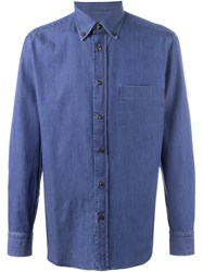 Brioni Button Down Collar Denim Shirt Blue