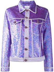 Ashish Sequin Denim Jacket Pink And Purple