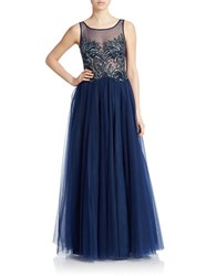 Basix Ii Sequined Bodice Gown Navy