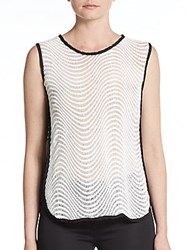 Romeo And Juliet Couture Wavy Striped Knit Top White Black