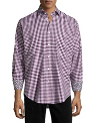 Thomas Dean Gingham Woven Long Sleeve Sport Shirt Berry