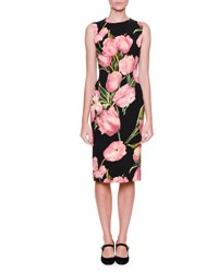 Dolce And Gabbana Sleeveless Tulip Print Dress Black Rose Pink Tulipani Rosa F.N