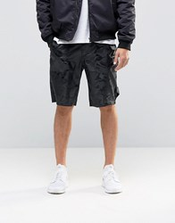 Asos Slim Long Length Nylon Shorts In Camo Black