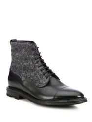 Fratelli Rossetti Wool And Leather Lace Up Boots Black
