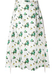 Toga Flower Print A Line Skirt White