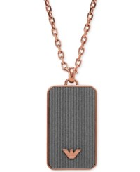 Armani Exchange Emporio Men's Rose Gold Tone Gray Dog Tag Necklace Egs2222221