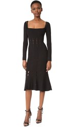 Cushnie Et Ochs Long Sleeve Knit Trumpet Dress Black