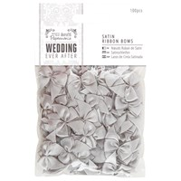 Docrafts Wedding Ever After Satin Ribbon Bows Silver 100Pcs