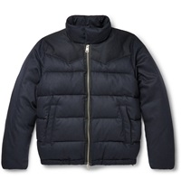 Ami Alexandre Mattiussi Down Filled Quilted Wool Blend Jacket Blue