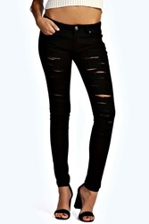 Boohoo Low Rise All Over Rip Skinny Jeans Black