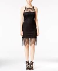 Jump Juniors' Illusion Lace Halter Bodycon Dress Black