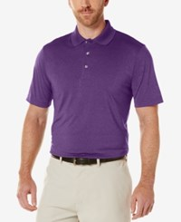 Pga Tour Men's Heathered Golf Polo Shirt Dark Purple
