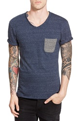 Eleven Paris 'Fanye' Pocket V Neck T Shirt Dark Grey