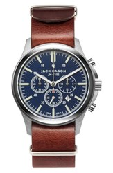 Jack Mason Brand Men's Chronograph Leather Strap Watch 42Mm Navy Brown
