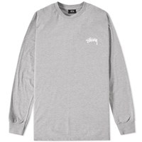Stussy Long Sleeve Original Stock Tee Grey