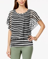 Styleandco. Style And Co. Striped Flutter Sleeve Banded Hem Blouse Only At Macy's