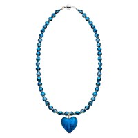 Martick Sparkle Heart And Crystal Pendant Necklace Cobalt