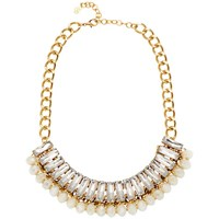 Adele Marie Crystal Bead Chain Collar Necklace Gold Clear