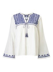 Miss Selfridge Blue Embroidered Gypsy Blouse White