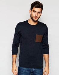 Asos Crew Neck Jumper With Pocket Patch In Cotton Navy