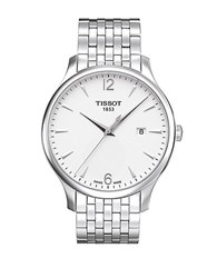 Tissot Mens Tradition Quartz Stainless Steel Watch Silver