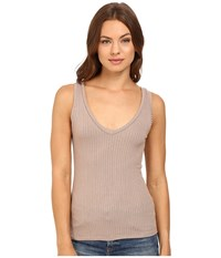 Project Social T Kate Double V Tank Top Sepia Women's Sleeveless Khaki