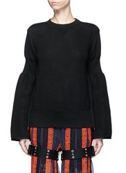 Sacai Side Zip Cinched Sleeve Sweatshirt Black