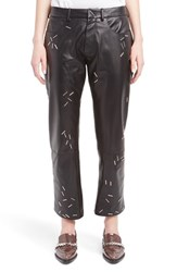 Christopher Kane Women's Staple Detail Lambskin Leather Boyfriend Pants