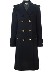 Michael Kors Military Midi Coat Blue