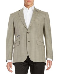 Ted Baker Plaid Wool Blazer Taupe