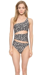 Adidas By Stella Mccartney One Shoulder Swimsuit Pale Pink Black