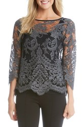 Karen Kane Women's Scallop Hem Embroidered Sheer Lace Top Slate