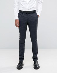 Selected Homme Suit Trouser With Brushed Tonal Check In Skinny Fit Charcoal Grey